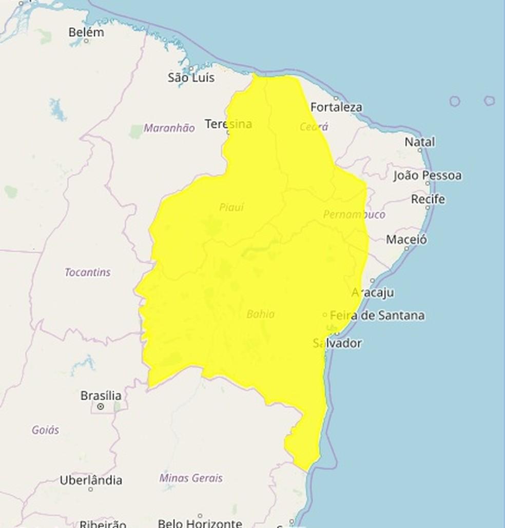 Mapa do Inmet indica chuvas intensas no Sertão paraibano — Foto: Reprodução/Inmet