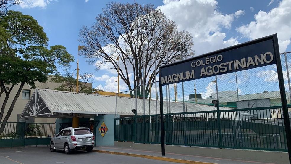 Entrada principal do Colégio Magnum Agostiniano — Foto: Herbert Cabral/TV Globo