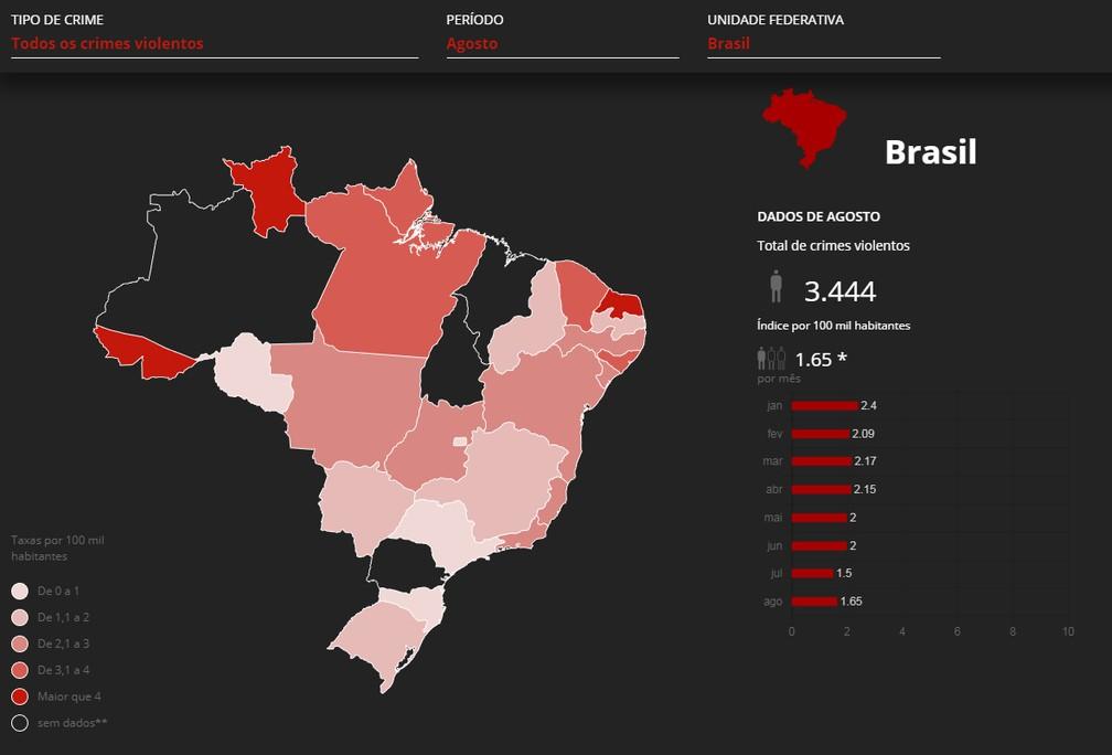 Mapa mostra as mortes em agosto no Brasil — Foto:  G1