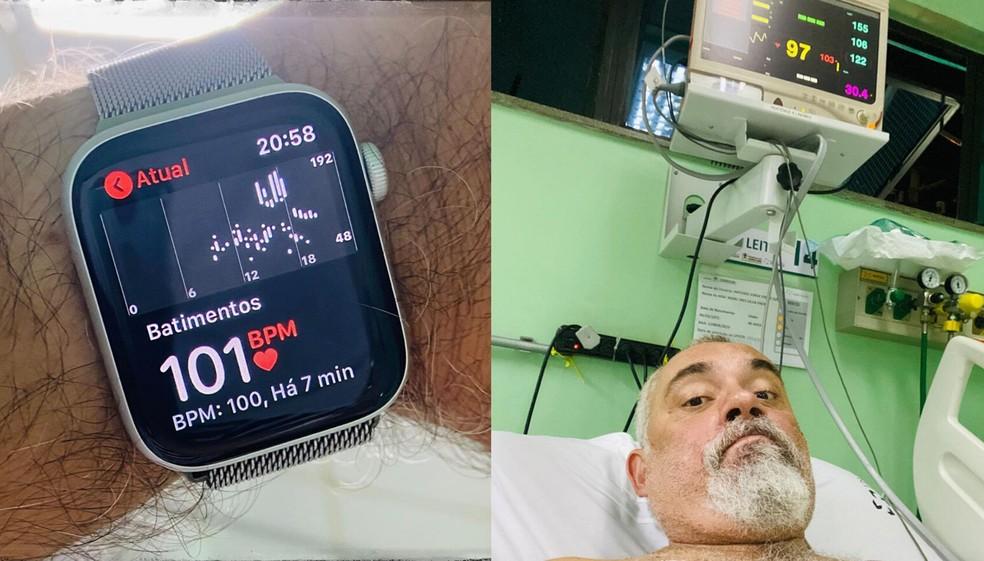 Jorge Freire registrou os batimentos cardíacos após receber cuidados médicos — Foto: Reprodução