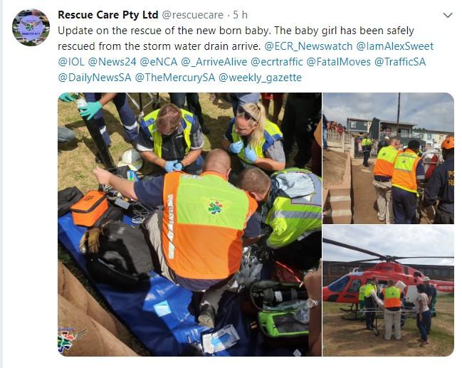 Postagem do serviço de emergência sobre o resgate da recém-nascida (Foto: Reprodução Twitter)