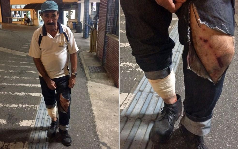 Homem ficou ferido após explosão de bomba durante confusão em frente à Câmara Municipal de São Paulo (Foto: Livia Machado/G1)