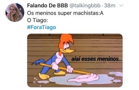 Meme com os pedidos da saída do apresentador Tiago Leifert do 'Big Brother' TV Globo