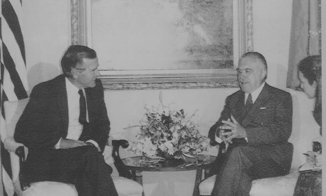 George Bush e José Sarney na Casa Branca, em 1989