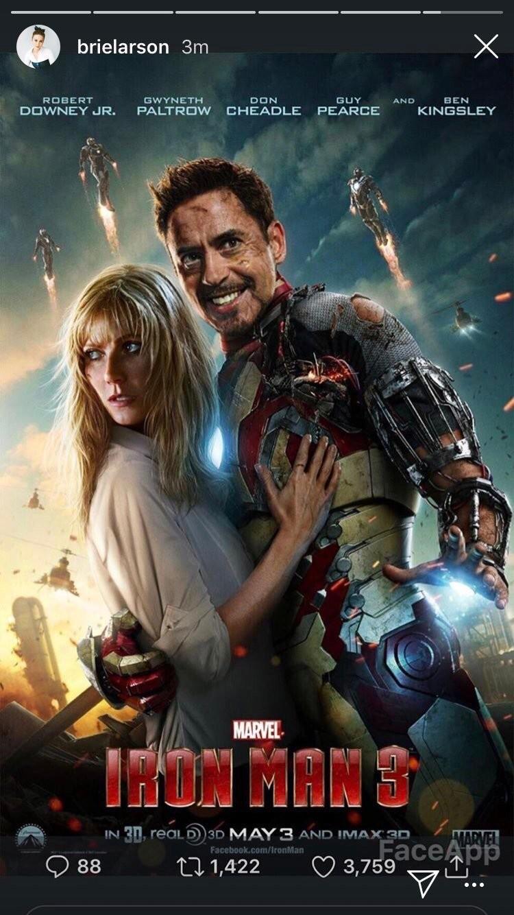 A versão sorridente do pôster de Homem de Ferro compartilhada por Brie Larson (Foto: Instagram)