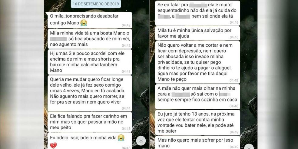Vítima relata à irmã que está sendo abusada pelo pai em São Vicente, SP. — Foto: Reprodução