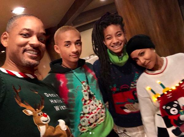 O ator Will Smith com a esposa, Jada Pinkett Smith, e dois de seus três filhos (Foto: Instagram)