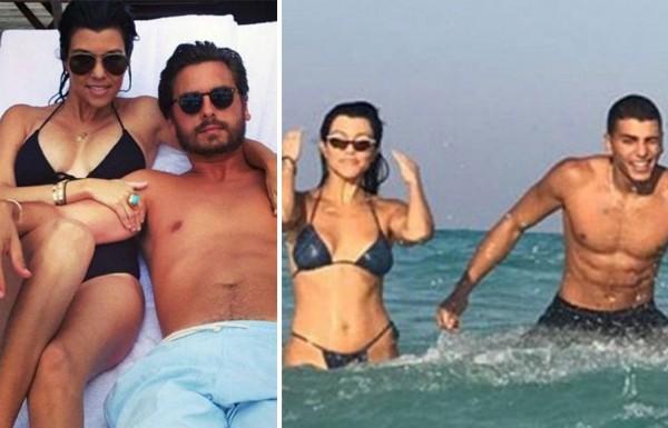 A socialite Kourtney Kardashian com o seu ex-marido, Scott Disick, e seu namorado, o modelo Younes Bendjima (Foto: Instagram)