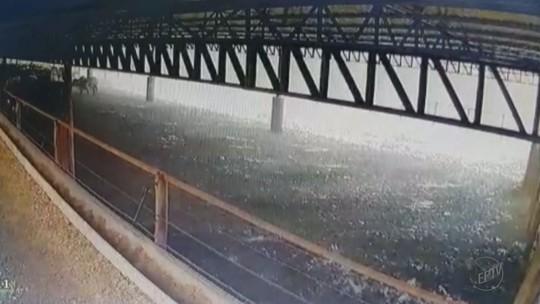 Chuva e ventos fortes arrancam cobertura de galpão em sítio em Brodowski, SP; vídeo