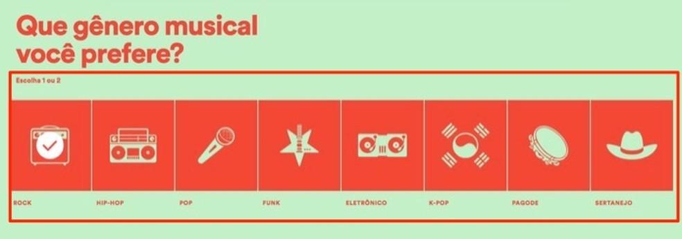 Ação para definir o estilo música de uma playlist para malhar que será criada pelo Spotify — Foto: Reprodução/Marvin Costa