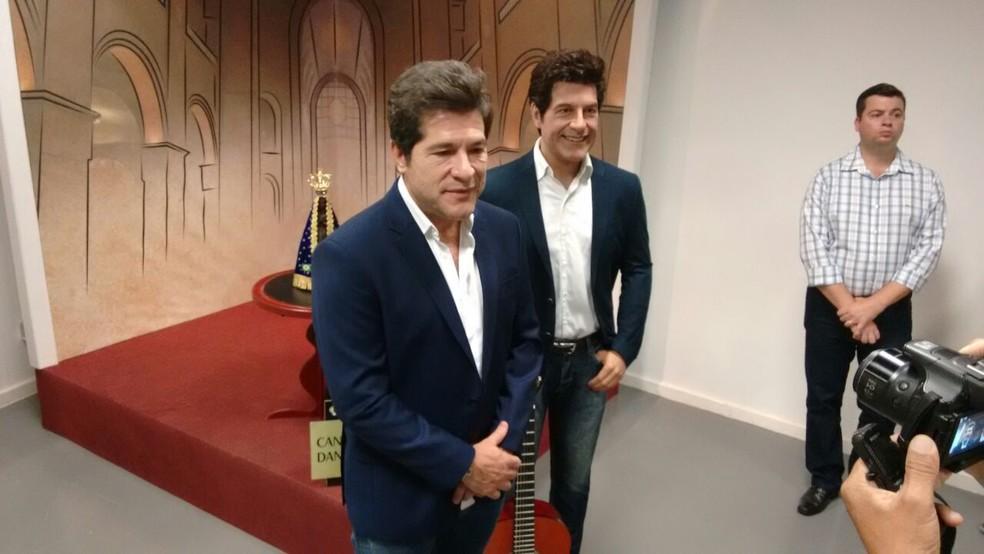 Daniel deu entrevista durante a visita ao Santuário Nacional (Foto: Wilson Silvaston/Divulgação)