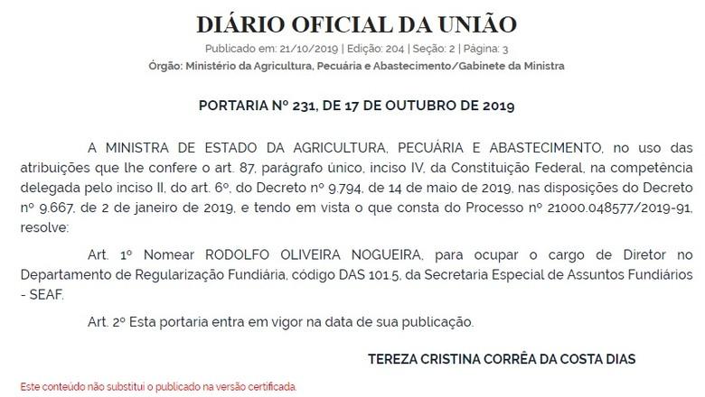 Decisão publicada no Diário Oficial da União publicado em 21/10/2019 (Foto: Reprodução/DOU)