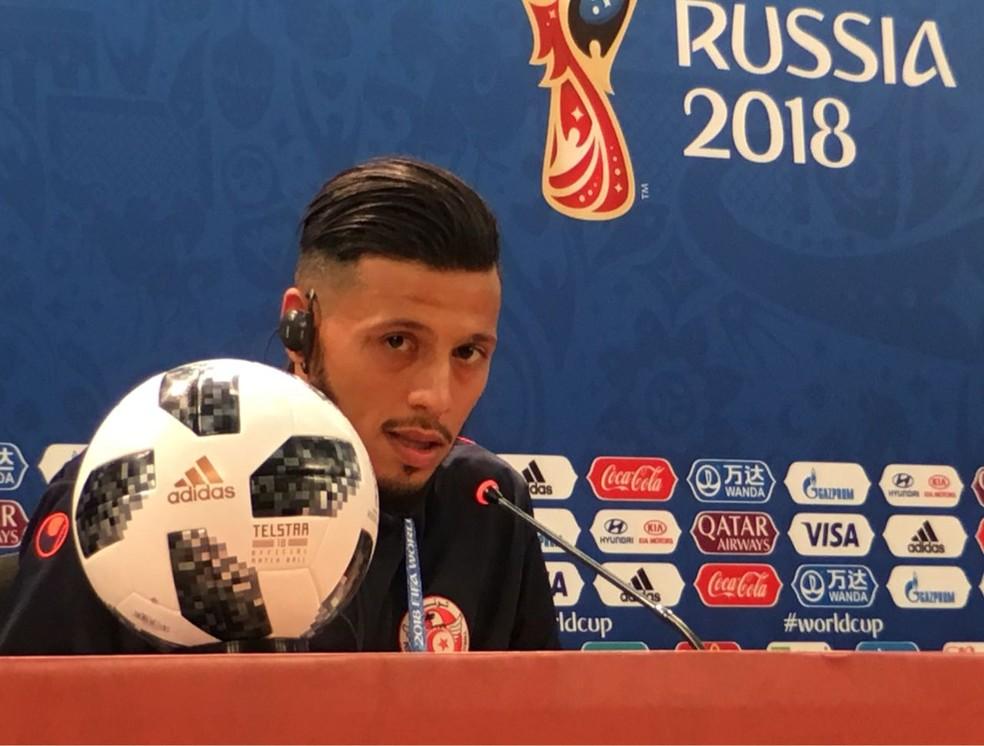 Anice Badri, atacante do Espérance, jogou a Copa do Mundo de 2018 pela Tunísia — Foto: Guido Nunes