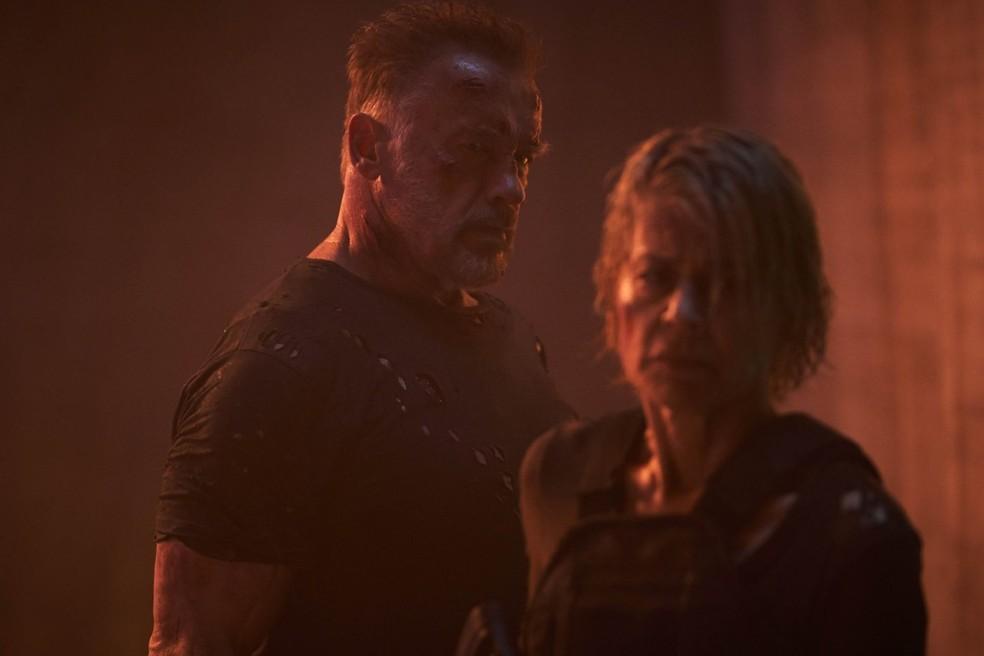 Arnold Schwarzenegger e Linda Hamilton em 'O Exterminador do Futuro: Destino Sombrio' — Foto: Divulgação