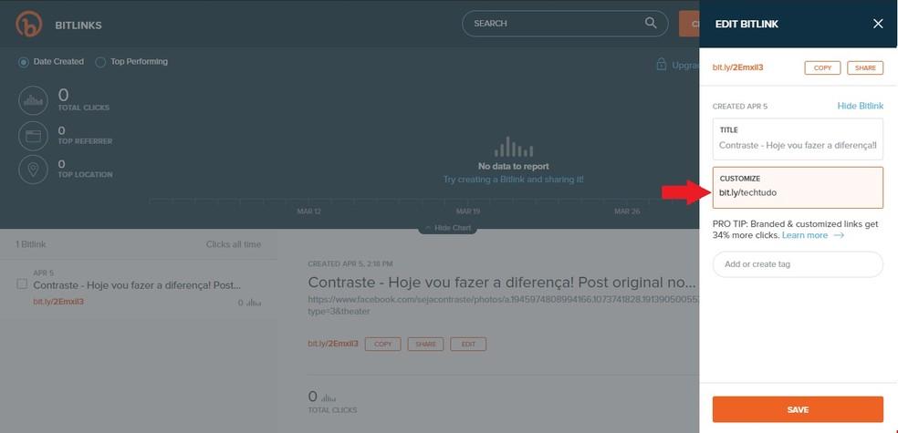 Bit.ly permite personalizar os links encurtados — Foto: Reprodução/Clara Barreto