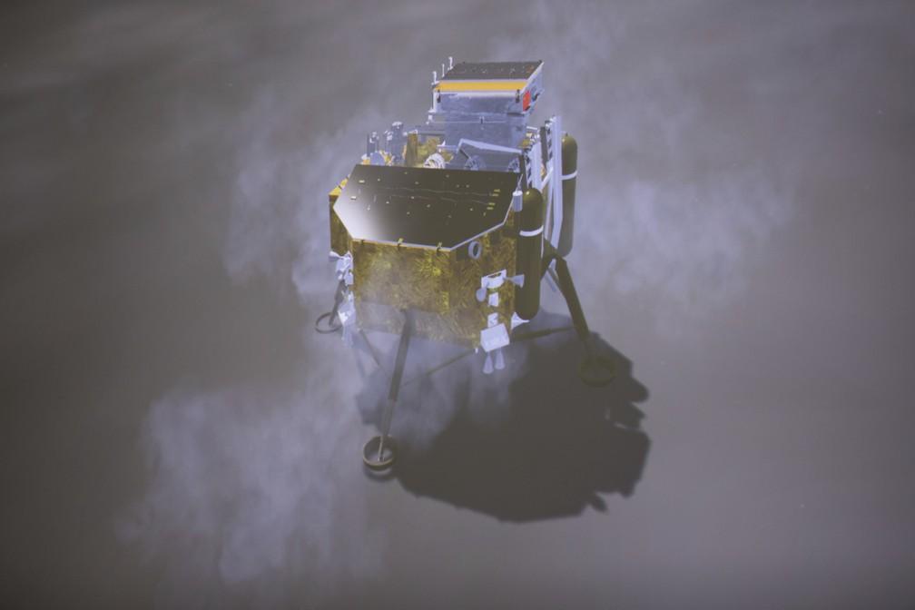 Simulação do pouso da Chang'e 4, visto pelo monitor do Centro de Controle do Espaço em Pequim. — Foto: Jin Liwang/Xinhua News via AP