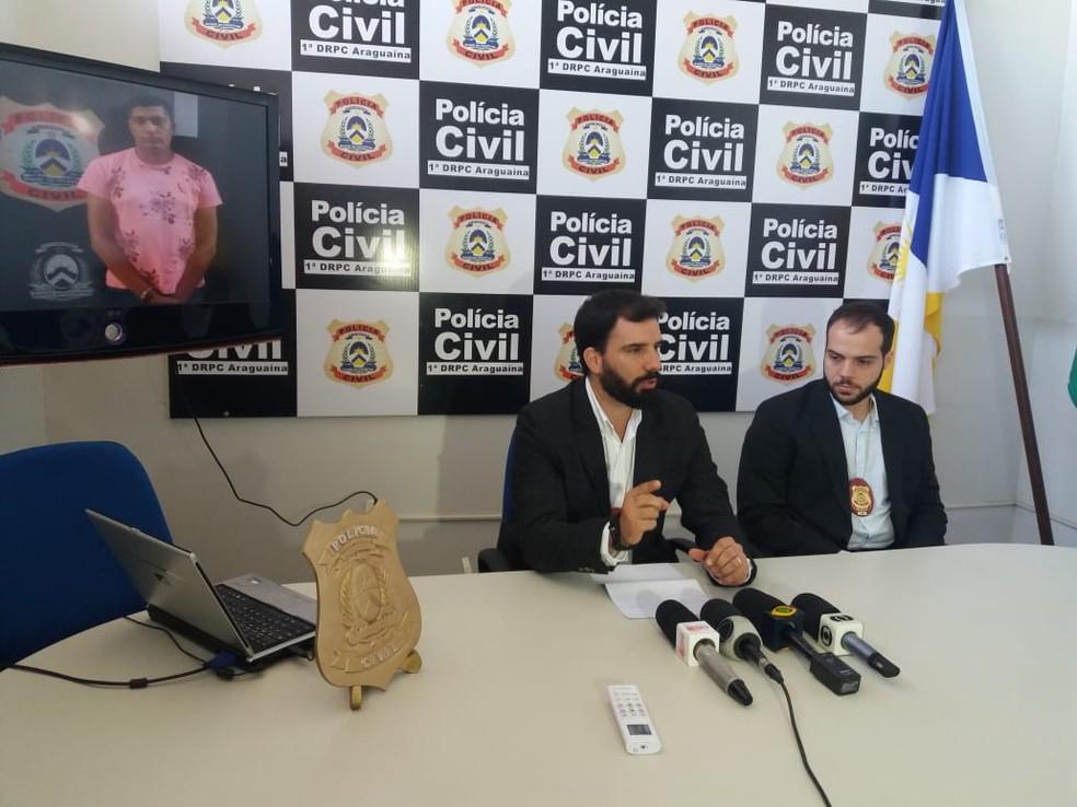 Delegados detalham homicídio registrado em Araguaína, em março desse ano (Foto: Cassia Rangel/TV Anhanguera)