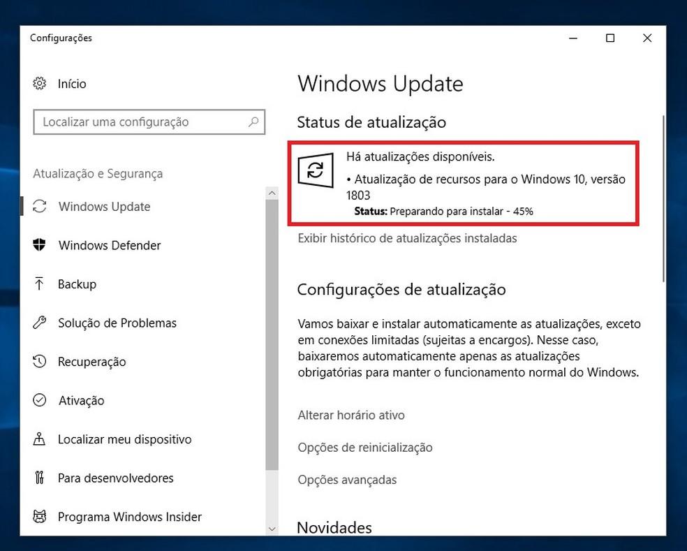 Windows 10 iniciará a atualização do sistema automaticamente — Foto: Reprodução/Rodrigo Fernandes