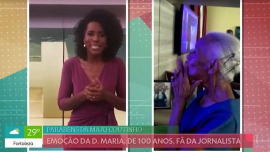 Maju Coutinho grava mensagem de aniversário para fã que completa 100 anos: 'Fiquei superemocionada'