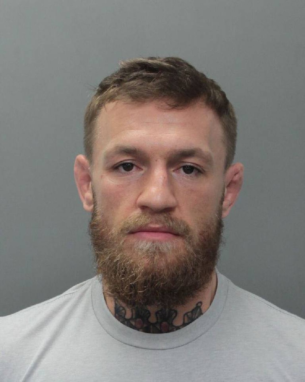 Conor McGregor em foto na cadeia em Miami Beach — Foto: City of Miami Beach Police Department
