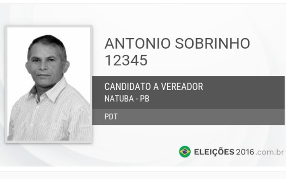 Vereador Antônio de Souza Araújo (PDT), 55 anos, foi morto a tiros na frente da Câmara de Natuba, PB — Foto: Reprodução/TSE
