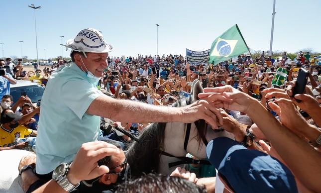Bolsonaro no Ceará, em julho de 2020, quando sua avaliação melhorou