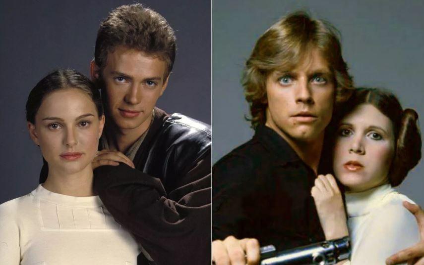 Padmé (Natalie Portman) e Anakin (Hayden Christensen) em Ataque dos Clones e Luke (Mark Hamill) e Leia (Carrie Fisher) em Uma Nova Esperança. (Foto: Lucasfilm)
