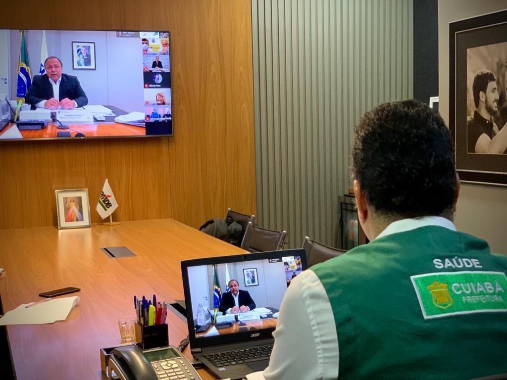 Prefeito pede a ministro da Saúde testagem para Covid-19 em massa em Cuiabá