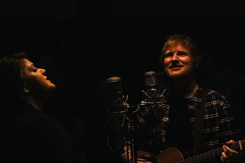 Ed Sheeran divulga música com Yebba — Foto: Reprodução/Instagram