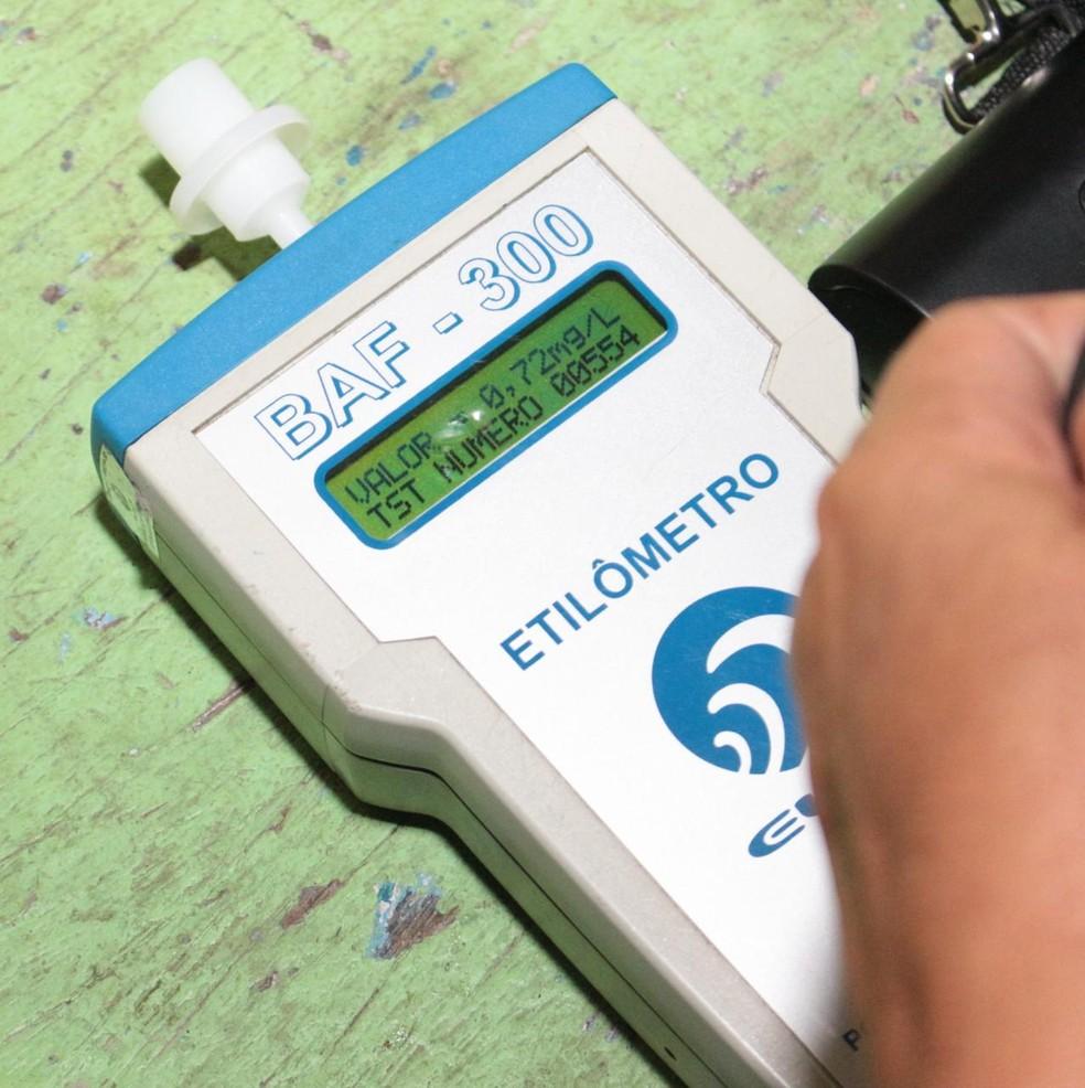 Aparelho utilizado para realização do exame de Bafômetro  — Foto: Divulgação/ Detran
