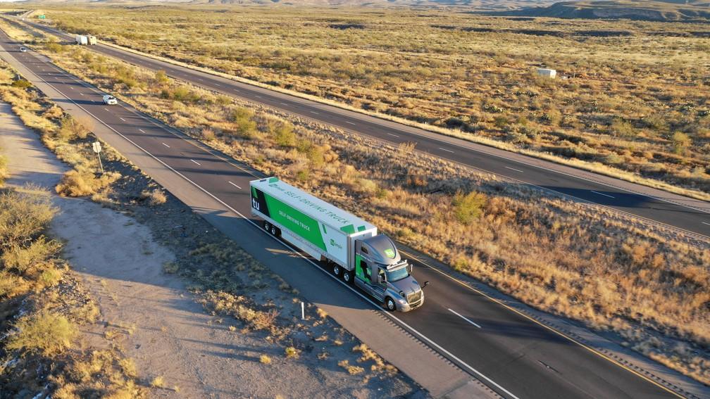 Caminhão autônomo será usado pelos correios em duas cidades dos EUA — Foto: TuSimple/Reuters