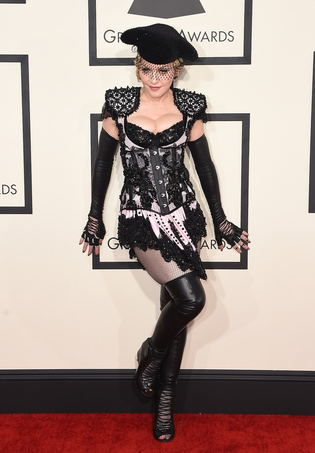 Madonna de Givenchy alta-costura no Grammy de 2015 (Foto: Getty Images)