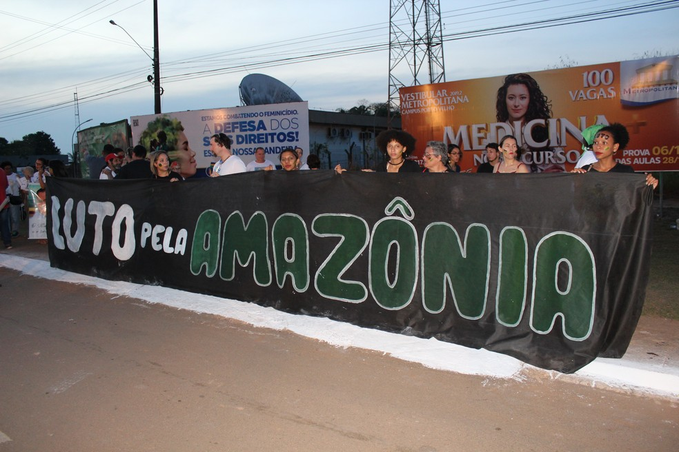 Manifestantes protestam em defesa da Amazônia — Foto: Diêgo Holanda / G1