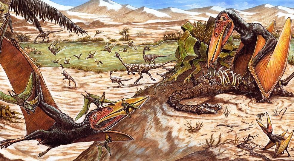 Desenho do pteurossauro Keresdrakon vilsoni, na imagem voando e comendo o dinossauro. — Foto: Universidade do Contestado/Divulgação
