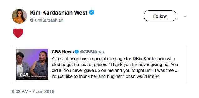 A socialite Kim Kardashian agradecendo uma mensagem de Alice Marie Johnson (Foto: Twitter)