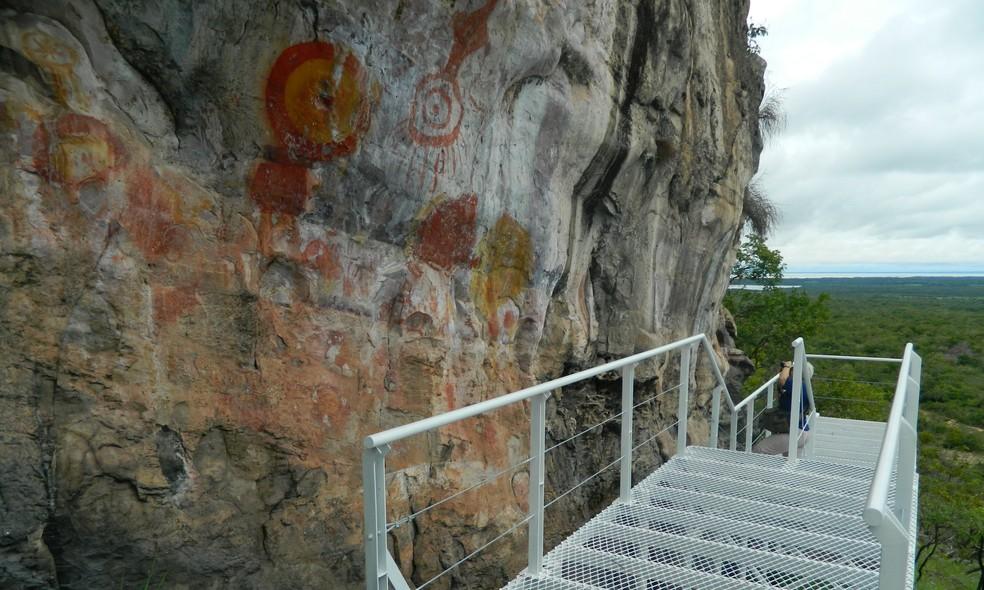 Pinturas rupestres que comprovam que a região foi habitada há pelo menos 11 mil anos, em Monte Alegre — Foto: Ideflor-Bio/Divulgação