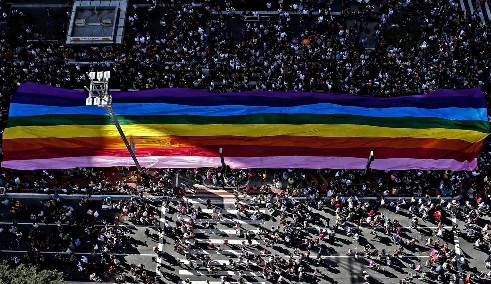 Bandeira do orgulho LGBT é carregada pela Avenida Paulista, em São Paulo, durante a Parada Gay (Foto: Miguel Schincariol/AFP)