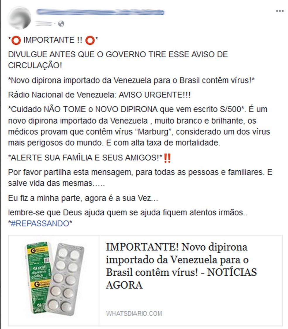 Mensagem falsa afirma que dipirona teria vírus mortal  — Foto: Reprodução/Facebook