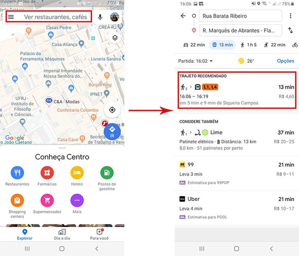 Selecione a opção do transporte público para acessar a nova função do Google Maps — Foto: Reprodução/Fernanda Lutfi
