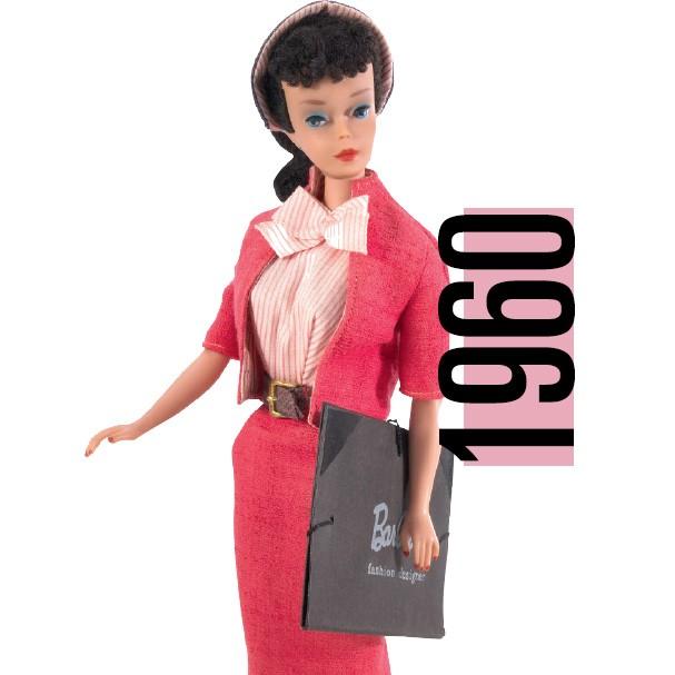 A Barbie estilista, de 1960, e seu look típico da década (Foto: Getty Images)