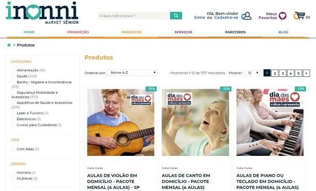 Interface da Inonni, marketplace focado em pessoas com mais de 50 anos (Foto: Reprodução)