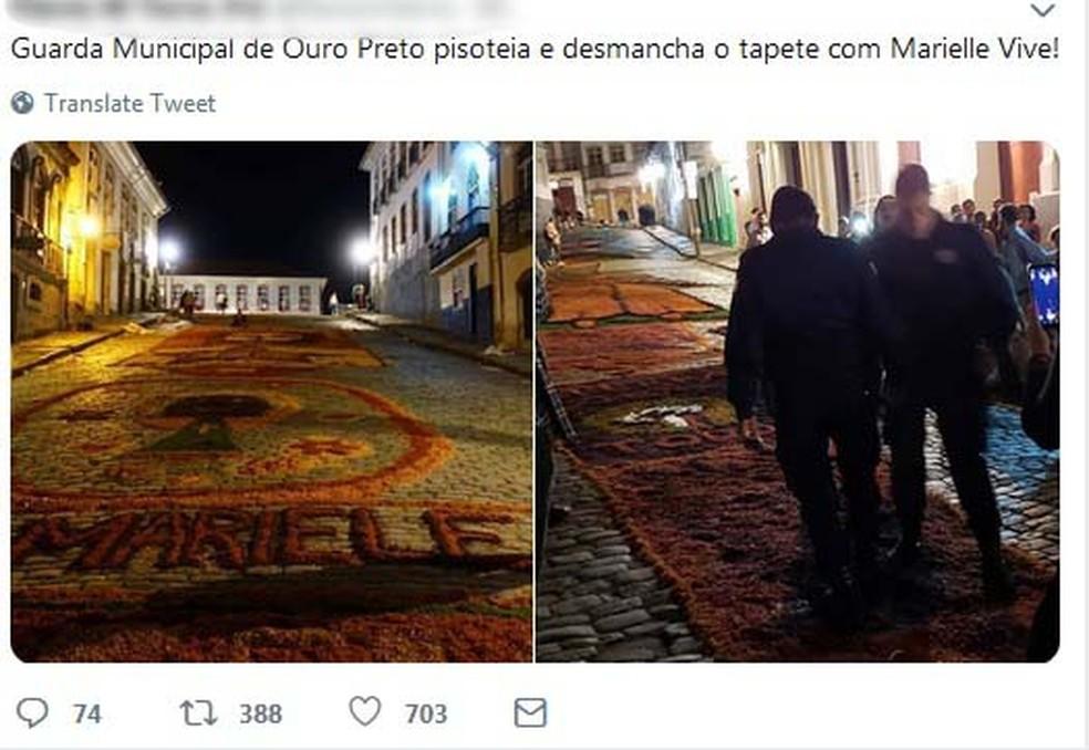 Guarda Municipal de Ouro Preto desmanchando tapete em homenagem à Marielle Franco — Foto: Reprodução/Redes Sociais