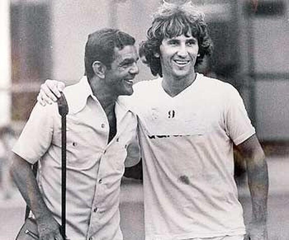 Dida e Zico: ídolos e maiores goleadores do Flamengo — Foto: Arquivo/Museu do Esporte