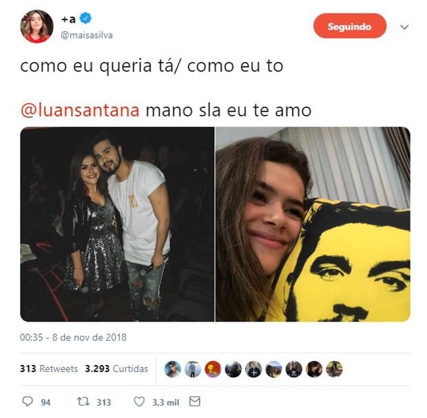 Maísa Silva e Luan Santana (Foto: Reprodução/Twitter)