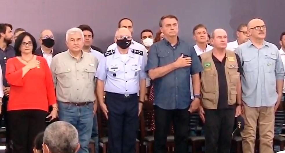Bolsonaro retorna ao Maranhão para entregar títulos de propriedade rural em Alcântara — Foto: Reprodução/TV Brasil