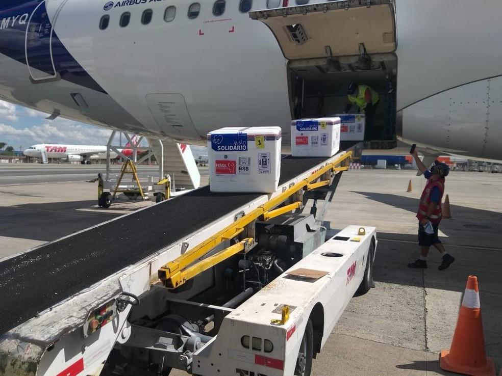 Lote da vacina contra Covid-19 da AtraZeneca/Oxford chega no Aeroporto de Brasília em 6 de maio  — Foto: Inframerica/Divulgação