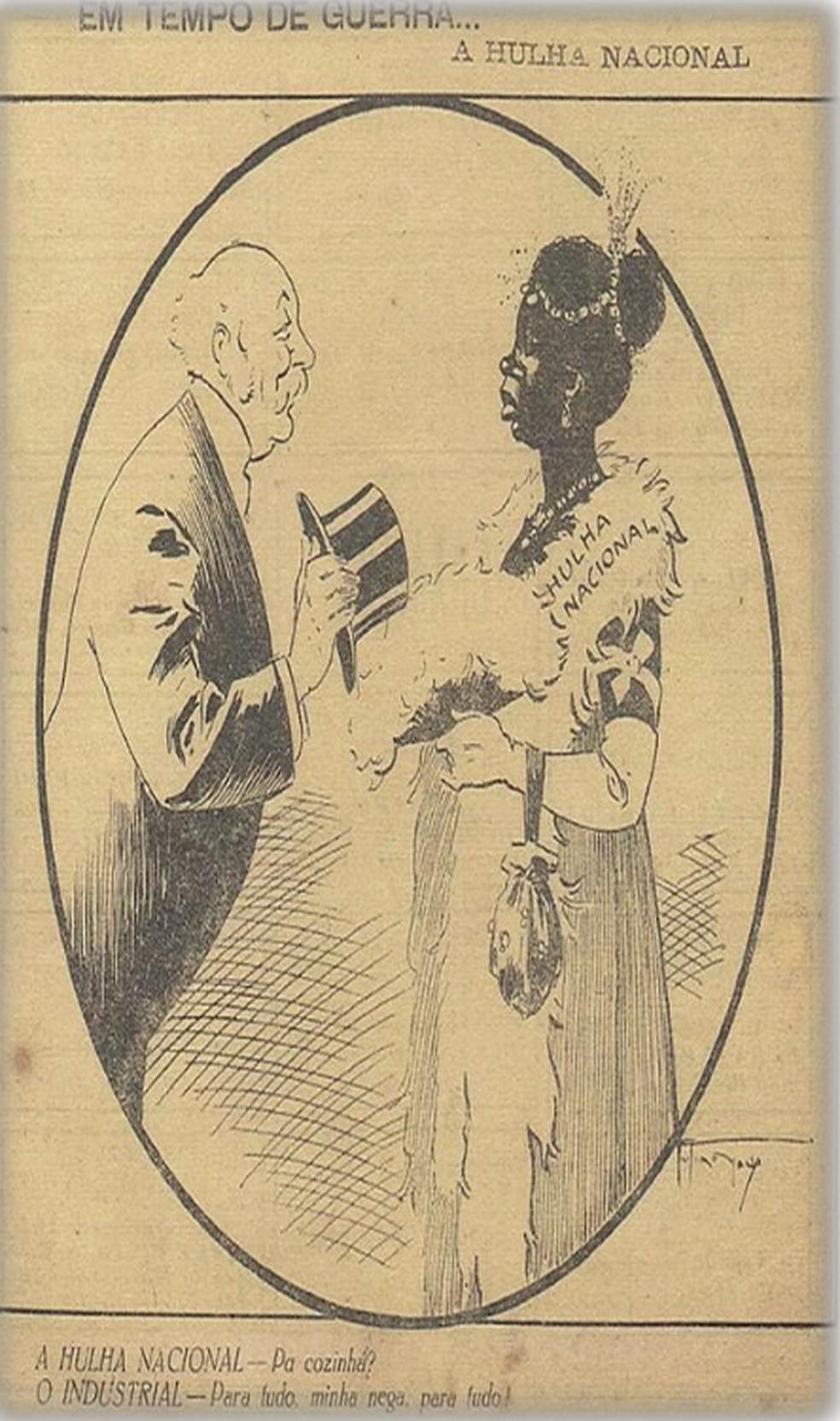 Na charge 'Hulha Nacional', publicada em 1917, a revista D. Quixote utilizou o nome de um tipo de carvão mineral para se referir ao tom da pele de uma mulher negra — Foto: Biblioteca digital do Senado Federal/Reprodução