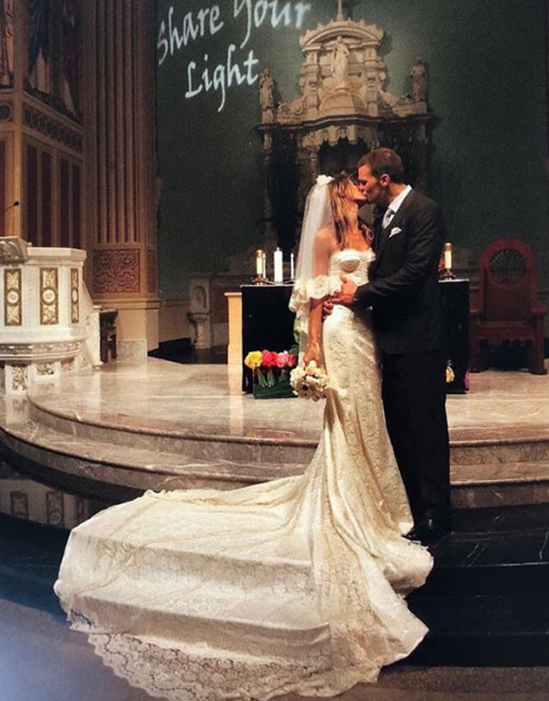 Gisele relembra foto de casamento com Tom Brady (Foto: Reprodução)