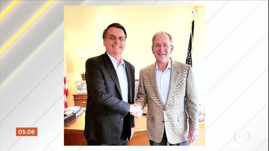 Em viagem aos EUA, Jair Bolsonaro esteve com ex-presidente americano George W. Bush