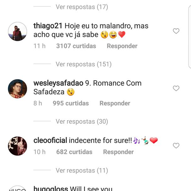 Comentários deixados para Anitta (Foto: Instagram/Reprodução)
